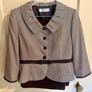 Tahari brown houndstooth jacket and skirt set